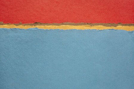 red and blue abstract landscape - a collection of colorful handmade Indian papers produced from recycled cotton fabric