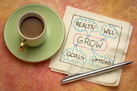 GROW (goals, reality, will and options) acronym - napkin doodle with a cup of coffee, business and personal development concept