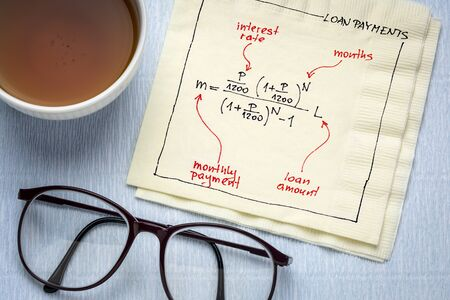 loan payment equation sketched on a napkin with a cup of tea, business or personal finance concept Foto de archivo