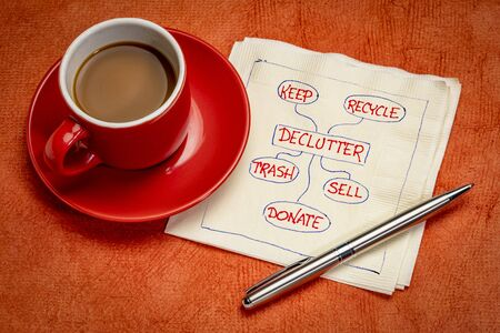 declutter concept (keep, recycle, trash, sell, donate - motivational handwriting on napkin with a cup of coffee Foto de archivo
