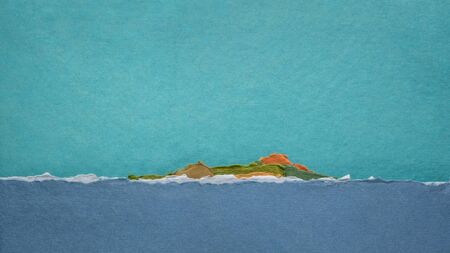 tropical island and ocean -  abstract landscape created with handmade Indian rag paper