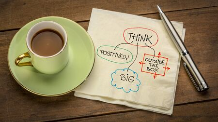 think positively, big and outside the box - motivational napkin doodle placed on wooden table with espresso coffee cup, business, education, personal development concept