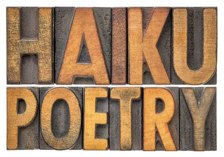 haiku poetry - a very short form of Japanese poetry - isolated word abstract in vintage letterpress printing blocks Foto de archivo