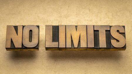 no limits - inspirational word abstract in vintage letterpress wood type, business, education or personal development concept Foto de archivo - 149963618