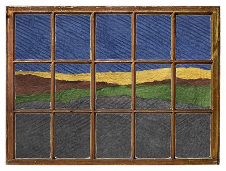 blue sky and dark fields as seen from a vintage sash window - colorful landscape abstract created with sheets of handmade textured paper Foto de archivo - 149957211