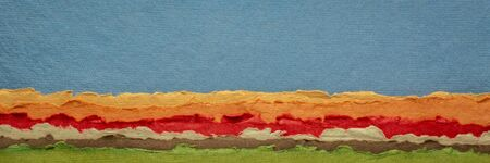 colorful abstract landscape, a collection of handmade rag papers, long web banner Foto de archivo - 150454507