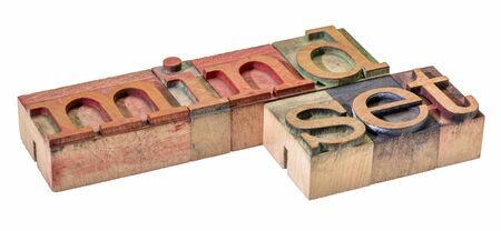 mindset - isolated word abstract in letterpress wood type printing blocks, thinking and attitude concept Foto de archivo