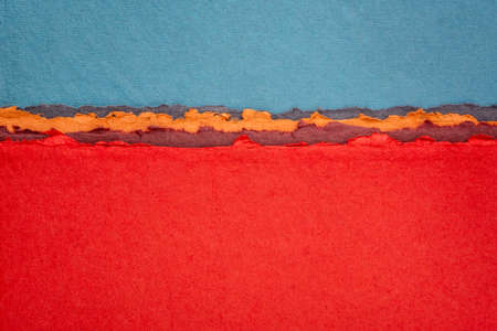 blue and red  abstract landscape - a collection of colorful handmade Indian papers produced from recycled cotton fabric