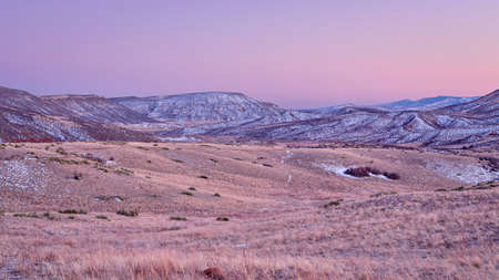 winter dusk over Colorado foothills of Rocky Mountains - Red Mountain Open Space, a popular hiking, biking and horse riding area near Fort Collins