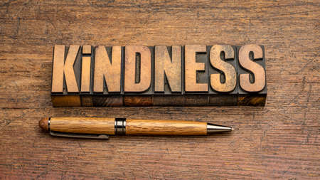 kindness - word abstract in vintage letterpress wood type against rustic wooden background