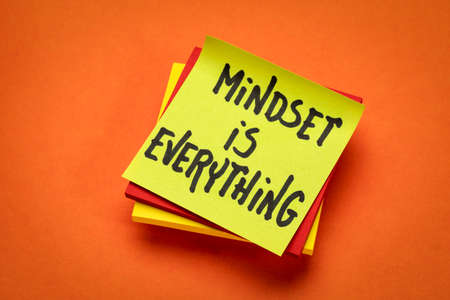 mindset is everything reminder note -  success and personal development concept