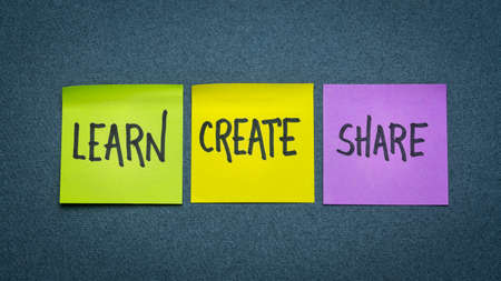 learn, create, and share -  set of sticky notes with inspirational words, business, education, lifestyle and personal development concept 版權商用圖片