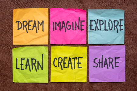dream, imagine, explore, learn, create, and share -  set of sticky notes with inspirational words, business, education, lifestyle and personal development concept 版權商用圖片