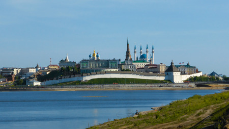 The skyline of Kazan, which is reflected in the water