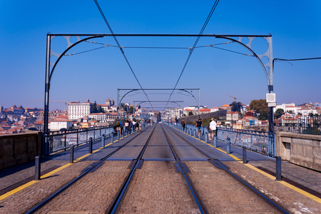 View over the bridge and the railway tracks in the city of Porto Stok Fotoğraf
