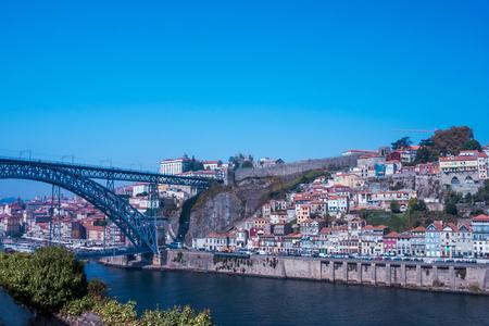 Iron bridge over the river Douro in Portugal