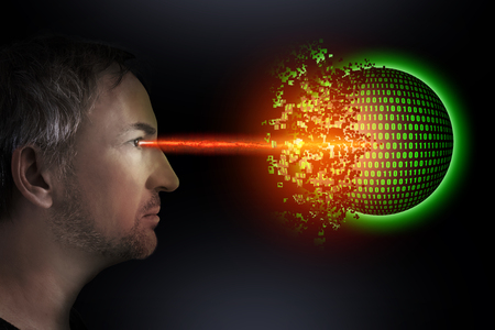 A man destroys a digital ball with a beam of light on which binary numbers can be seen
