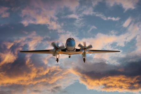 Propeller plane at dusk