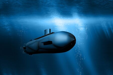 Submarine dives underwater in the ocean while the suns rays shine through the water surface - 3D-illustration