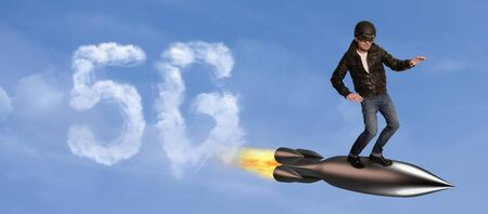 Superhero flies against a blue sky and stands on a rocket, a lettering can be seen in the form of clouds