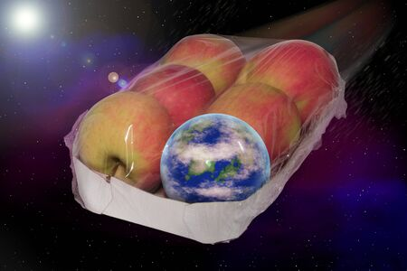 Planet Earth floats in an apple packaging sealed by space