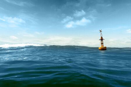Une bouée jaune dérive dans la houle contre un ciel bleu