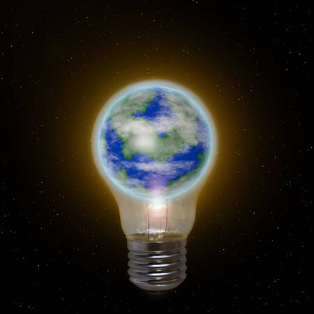 The earth is trapped in an oversized lightbulb