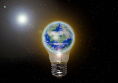 The earth is caught in an oversized light bulb in the background is the sun to see