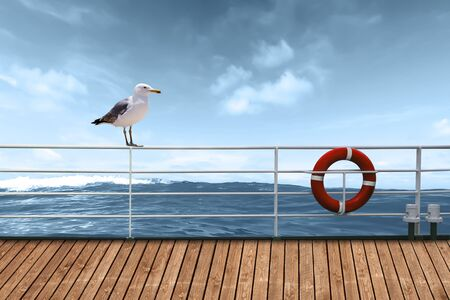 A seagull sits on the railing of the cruise ship Stock fotó