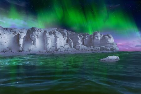 An ice wall in the Antarctic Sea while auroras can be seen in the sky