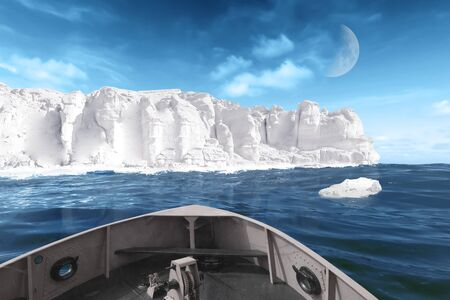 An ice wall in the Arctic sea approaching a ship