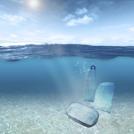 Plastic garbage floats under the surface of the water in the ocean