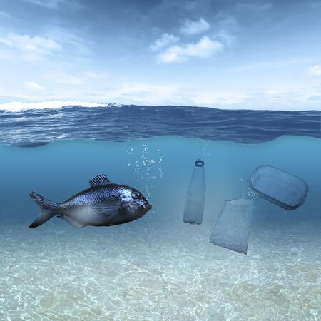 A fish swims under the surface of the water in the ocean and is surrounded by plastic waste