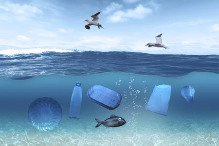 Plastic garbage swims under the surface of the water in the ocean, seagulls fly over the surface of the water