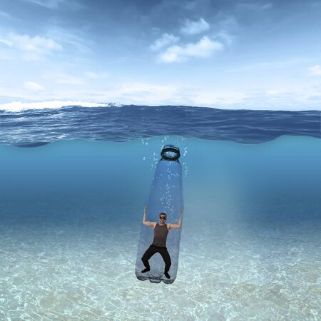 A man swims in a plastic bottle trapped under the water in the ocean