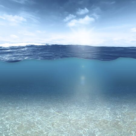 The underwater world and the sea surface can be seen at the same time as if through a glass pane Фото со стока