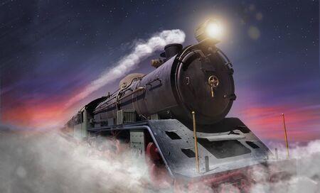 Une locomotive à vapeur roule à grande vitesse la nuit tandis que de la fumée s'échappe de sa cheminée, les étoiles sont dans le ciel