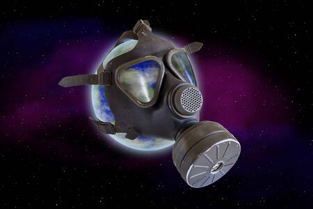 The earth drifts in the universe with a gas mask