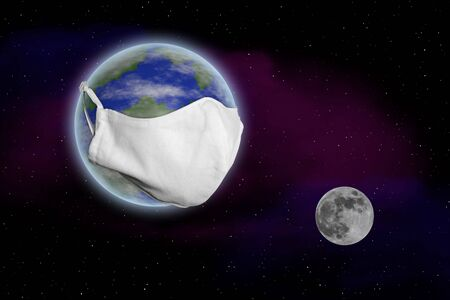 Earth drifts in space with a huge mouthguard at a distance from the moon Standard-Bild
