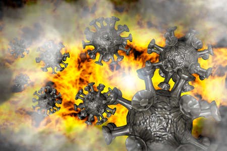 Viruses float through a sea of flames - 3D illustration Archivio Fotografico