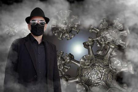 Virus and smoke surround a man in black