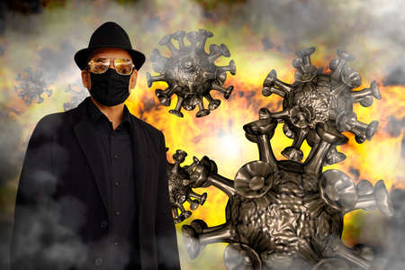 Virus, smoke, and fire surround a man in black