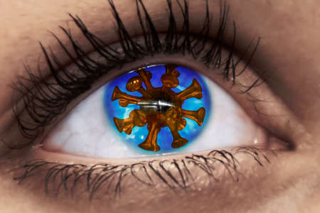 a virus in a blue eye