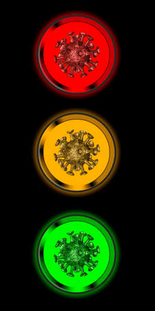 Virus symbol in traffic lights in the colors red, yellow and green