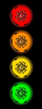 Virus symbol in traffic lights in the colors orange, red, yellow and green Archivio Fotografico