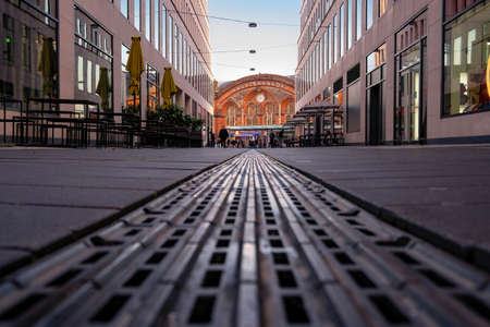 The passage at the main train station in Bremen with stops