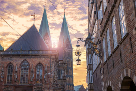 The Bremen Cathedral and the town hall at dawn