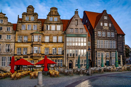 Colorful house facades on the market square in Bremen