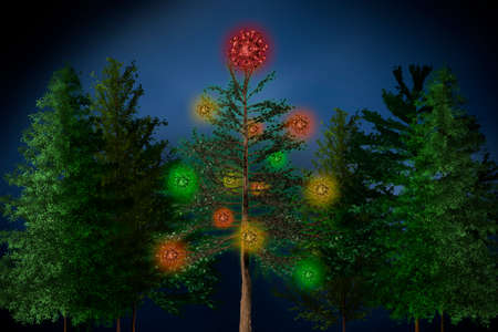 A Christmas tree is decorated with coronaviruses