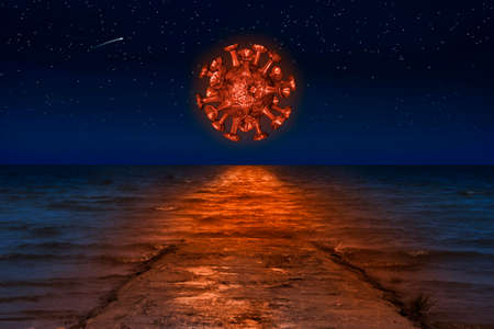 A red virus is reflected in the sea waves in the starry night